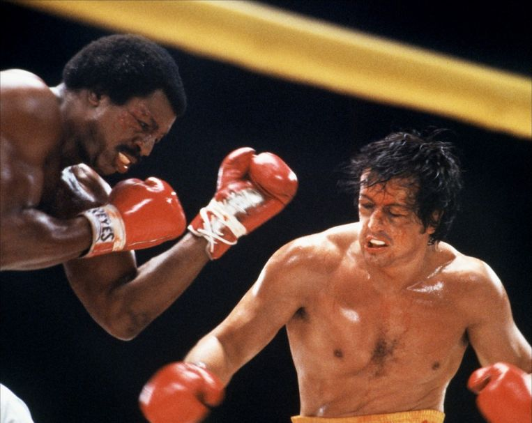 Carl Weathers en Sylvester Stallone in Rocky II (Sylvester Stallone, 1979). Beeld