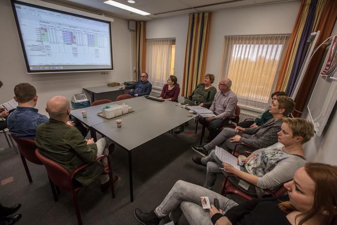 Planners en afdelingshoofden van het Elkerliek overleggen over de bezetting. Foto Ton van de Meulenhof