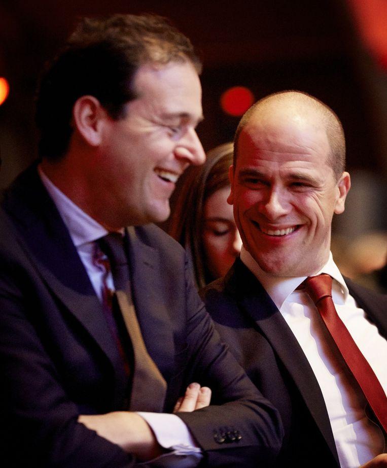 Minister Lodewijk Asscher en PvdA-leider Diederik Samsom op het PvdA-congres dit weekend. Beeld anp