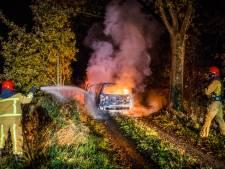 Auto gedumpt en aangestoken in bospad bij Nuenen, vermoedelijk gestolen voor onderdelen