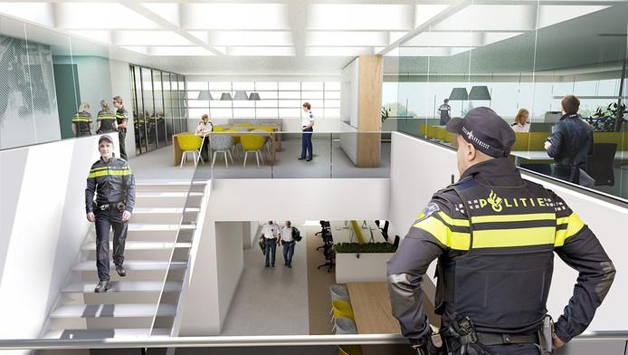 Zo komt het interieur van het nieuwe politiebureau in Uden er uit te zien.