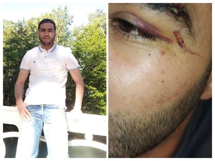 Mohamed Azzouah werd met twee dichtgeslagen ogen binnengebracht in het cellencomplex van de Noorderlaan.