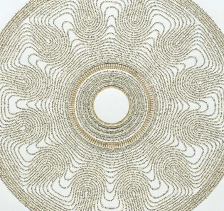 Kunstwerk 'The Satanic Verses', gemaakt met letters uit het gelijknamige boek van Salman Rushdie en de Koran. Beeld Meg Hitchcock