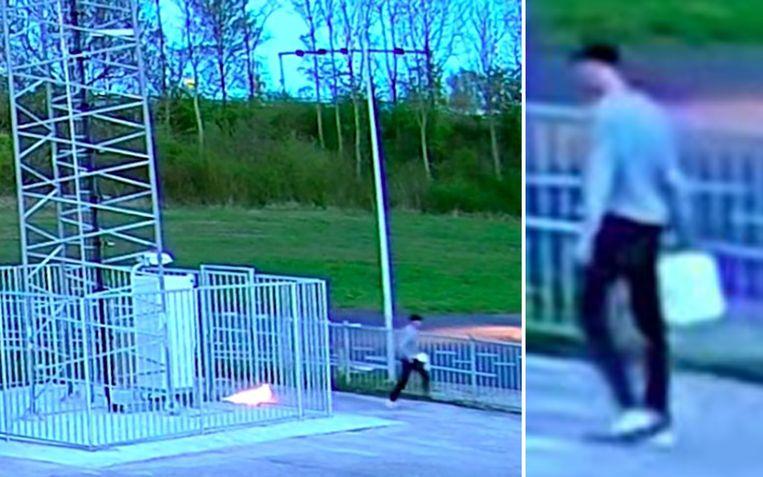 De Nederlandse politie verspreidde deze beelden van een brandstichting bij een zendmast in Groningen.
