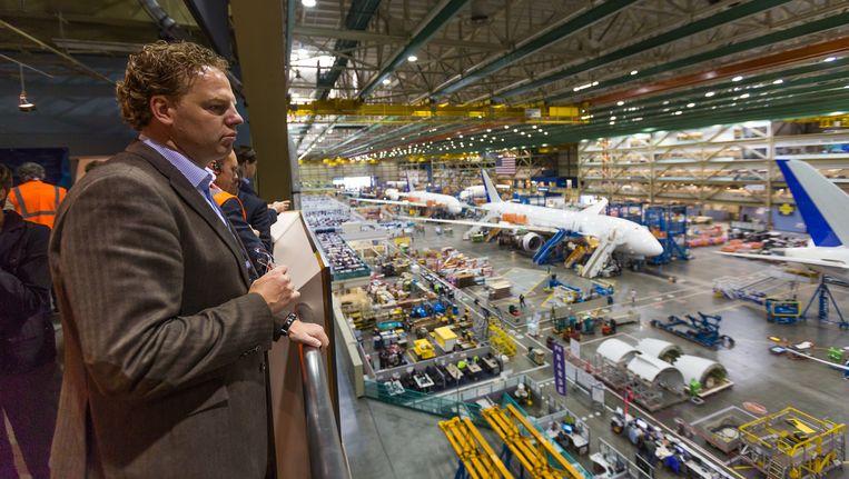 Steven van Nieuwenhuyzen, commercieel topman van TUI Benelux, deze week in de vliegtuigfabrieken van Boeing Beeld Andy Troy/LMG