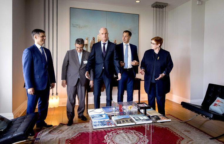 Minister Stef Blok bij een bijeenkomst met Joint Investigation Team (JIT) landen in de Nederlandse residentie tijdens de 74e Algemene Vergadering van de Verenigde Naties. Beeld ANP