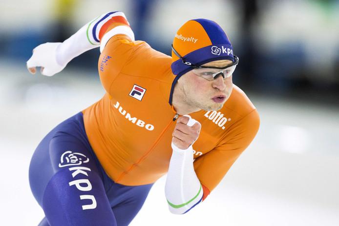 Sven Kramer in actie op de 1500 meter tijdens het EK Allround in Thialf.