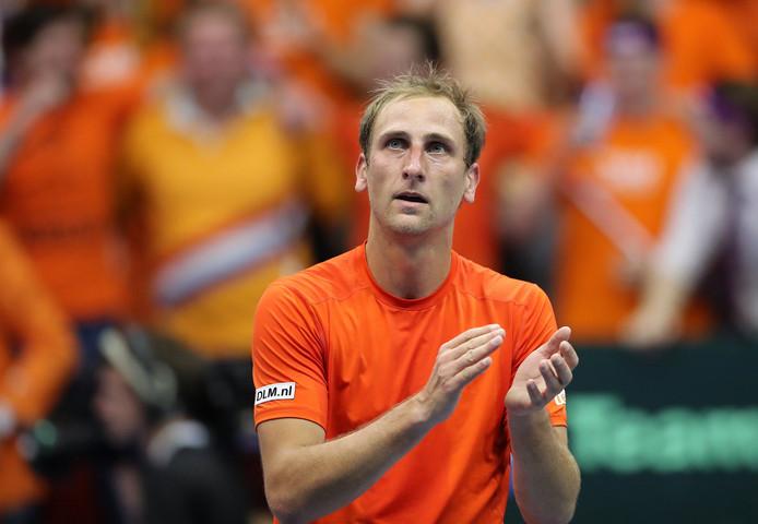 Thiemo de Bakker in actie tijdens de Davis Cup, 2018.