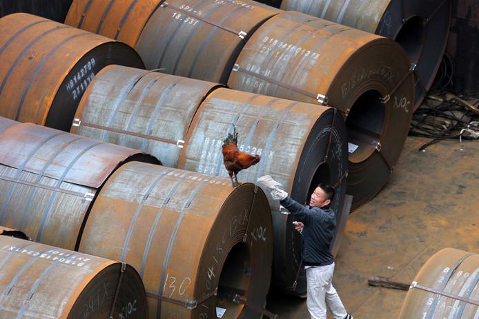 Een Chinese werknemer 'in gesprek' met een plaatselijke haan in een staalfabriek in Qidong.