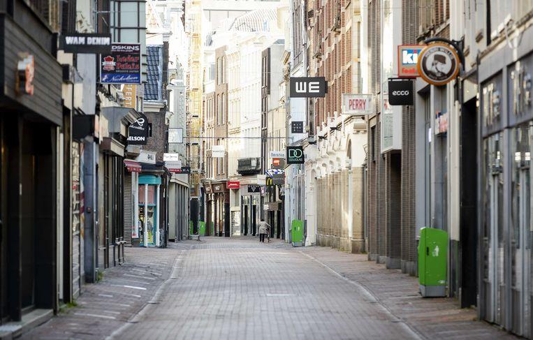 Gesloten winkels in de Amsterdamse Kalverstraat.  Beeld ANP