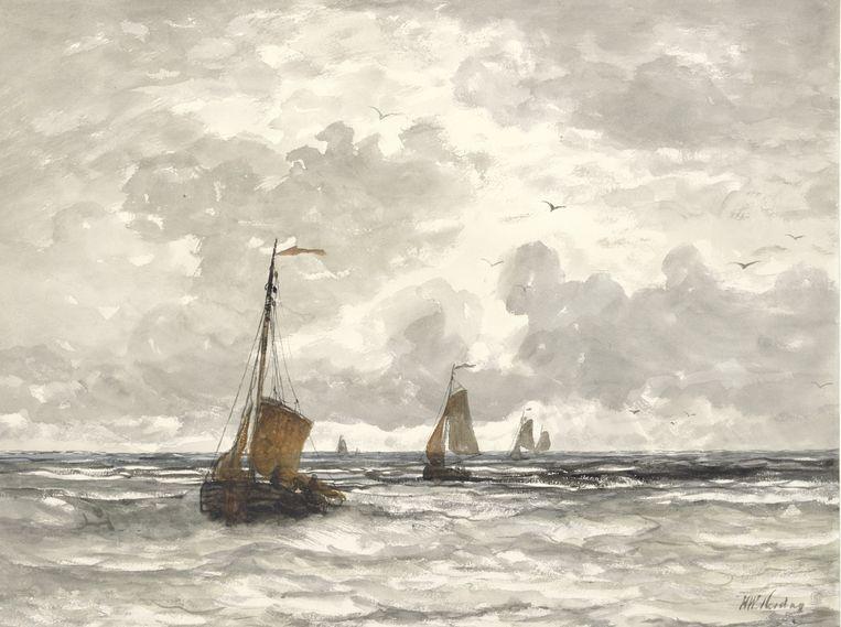 Hendrik Willem Mesdag, Vissersschepen in de branding. Uit de collectie van het Rijksmuseum. Beeld Rijksmuseum, Amsterdam