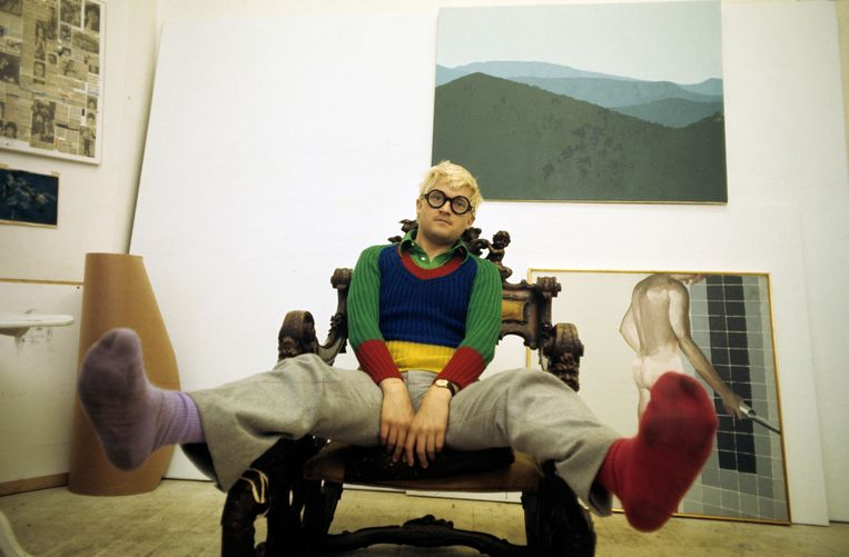 Een jonge Hockney in Engeland.  Beeld Paris Match via Getty Images