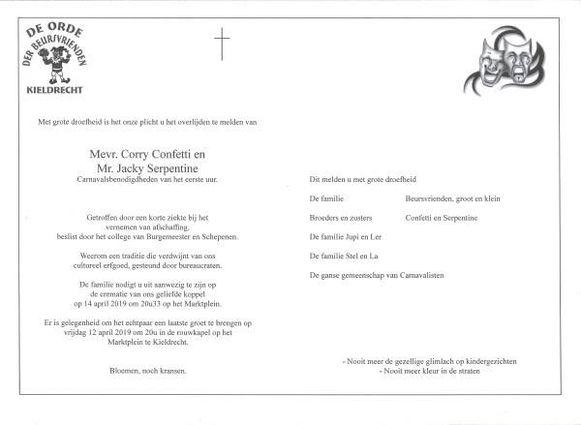 In plaats van een uitnodiging verstuurde de Orde der Beursvrienden een rouwbrief rond.