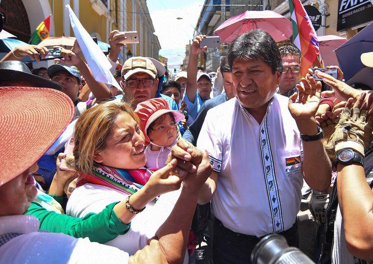Evo Morales tijdens een verkiezingsrally.
