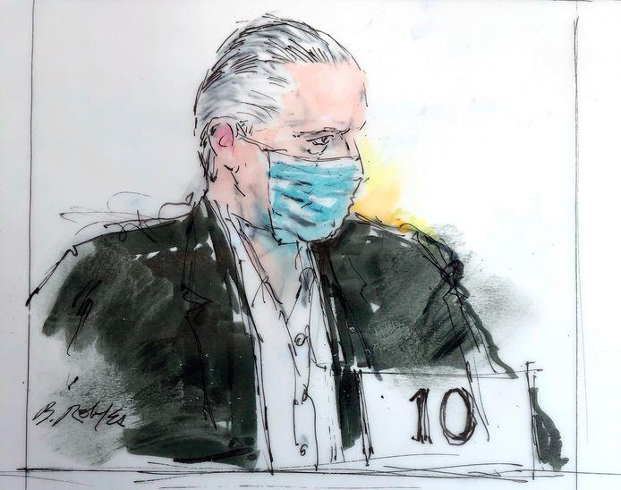 Een rechtbanktekening van Salvador Cienfuegos Zepeda in Los Angeles