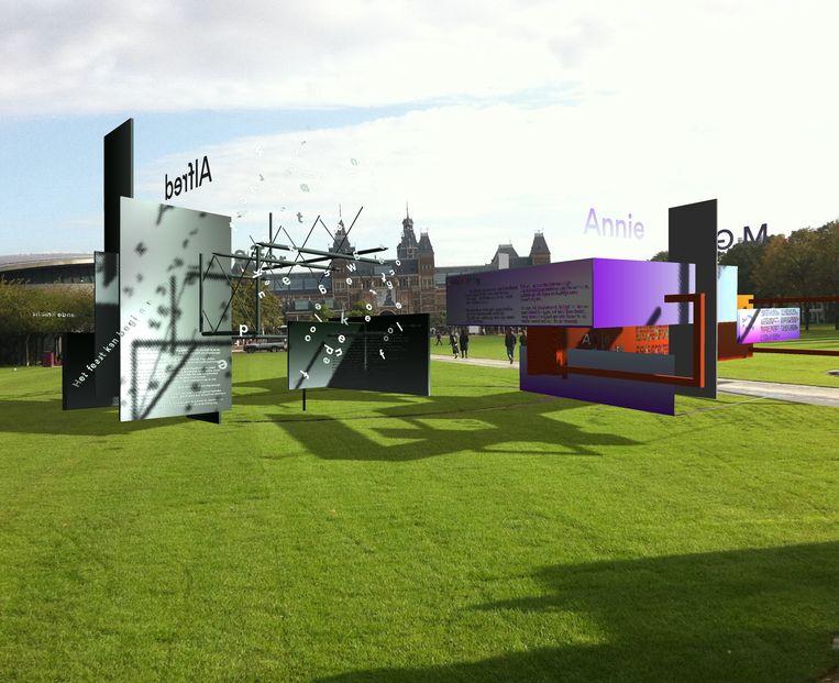 Impressie van het virtuele museum op het Amsterdamse Museumplein Beeld RV