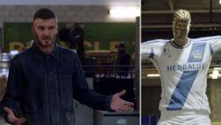 David Beckham vol ongeloof wanneer hij 'zijn' mislukt standbeeld ontdekt
