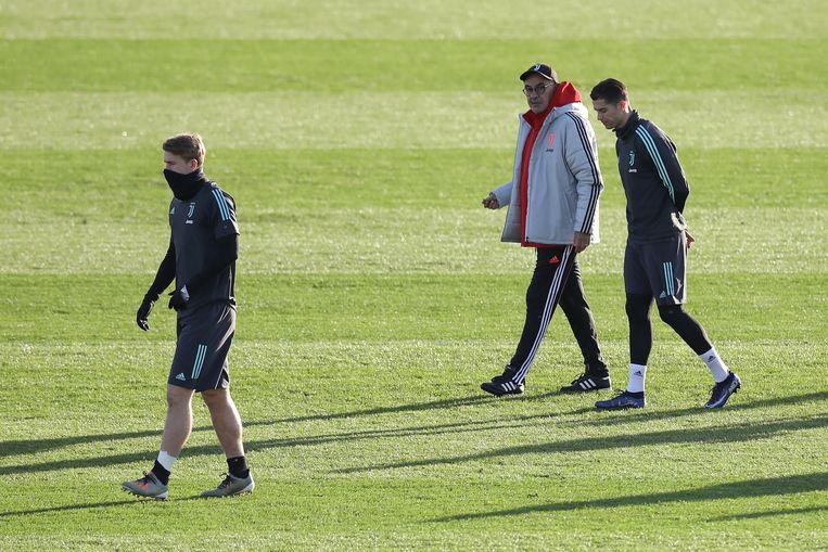 Matthijs de Ligt, Maurizio Sarri en Cristiano Ronaldo. Beeld BSR Agency