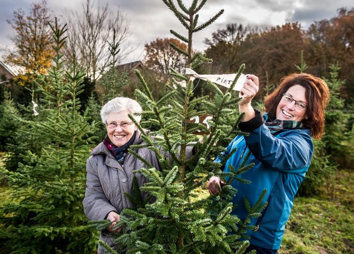 Kerstboomverkoopster Marijke Reijerkerk (rechts) samen met haar moeder Trees van Heumen.