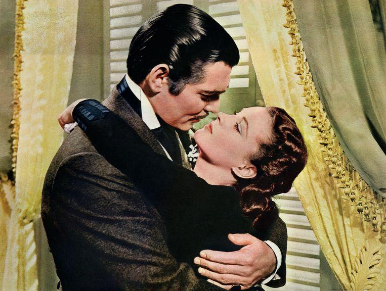 Rhett Butler (Clark Gable) en Scarlett O'Hara (Vivien Leigh) als iconisch filmkoppel in 'Gone With The Wind'.