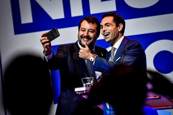 Matteo Salvini et Tom Van Grieken à Anvers lundi soir.