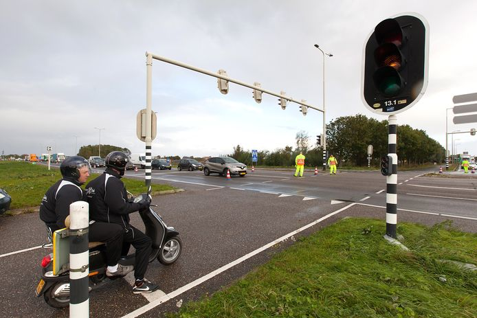 De N11 bij Alphen. De weg is komend weekend dicht, in de richting Leiden.