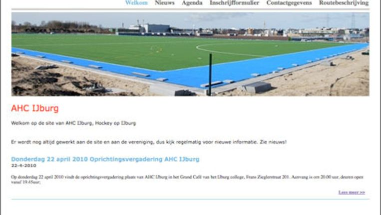 Het initiatief om een hockeyclub op IJburg op te richten, werd vorig jaar genomen door hockeyschool IJburg, die sinds januari 2009 hockeytrainingen verzorgt. Beeld website AHC IJburg Beeld