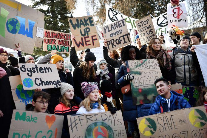 Een protestactie met Thunberg begin dit jaar in Davos, in de marge van het World Economic Forum (WEF).