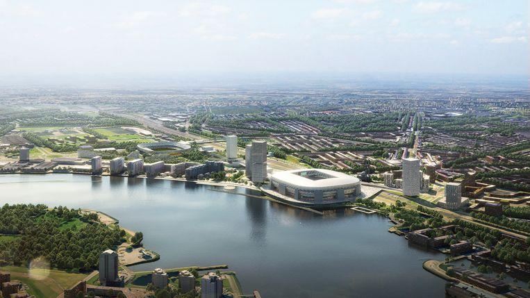 Het concept Feyenoord City zou Rotterdam-Zuid een facelift moeten geven.  Beeld