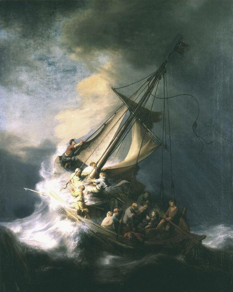 Het gestolen werk Christus in de storm op het meer van Galilea van Rembrandt van Rijn. Beeld FBI.gov