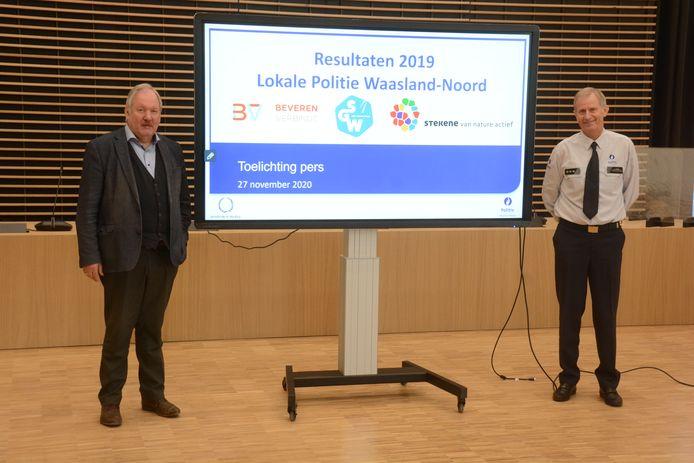 Marc Van de Vijver, voorzitter van de politiezone, en korpschef Leo Mares stelden vrijdag de resultaten voor van het voorbije jaar.