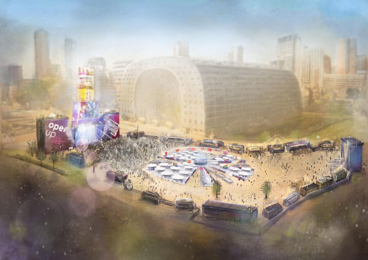 Impressie van de Eurovision Villega, mét de 18 meter hoge 'videotoren'. De fanzone krijgt volgend jaar een nieuwe kans.