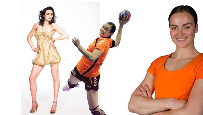 Yvette Broch, als model én handbalster van Oranje.