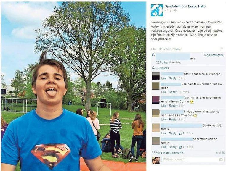 Speelpleinwerking Don Bosco plaatste een bericht op de Facebookpagina om iedereen in te lichten over het plotse overlijden van hun monitor Corwin Van Volxem.
