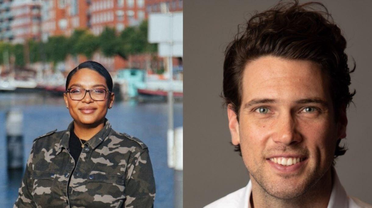 Ondernemers Renate Matroos (l) en Maxim Westerouen van Meeteren hebben een eigen bedrijf en een vaste baan.