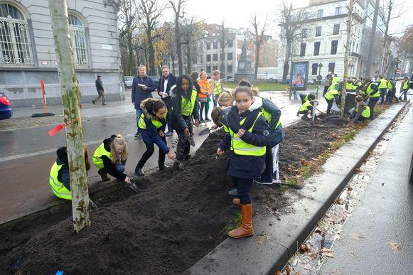 De leerlingen van het Onze-Lieve-Vrouwecollege kwamen mee helpen met het planten.