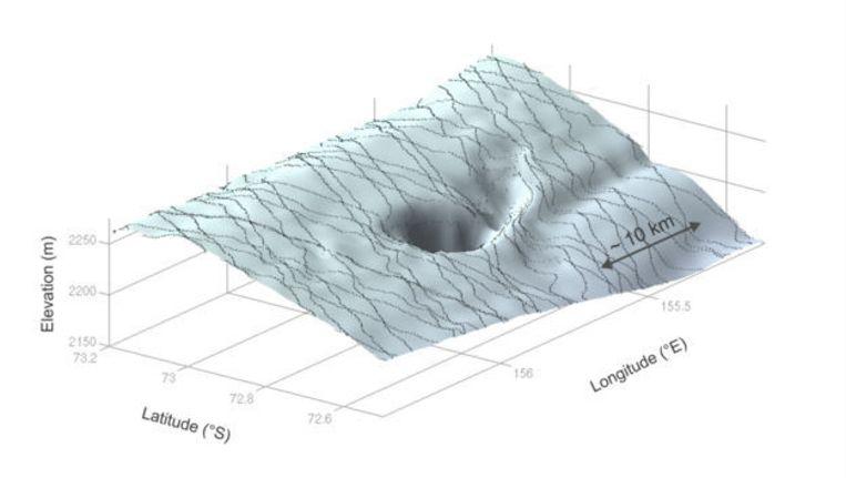 3D-beeld van de krater. Beeld ESA