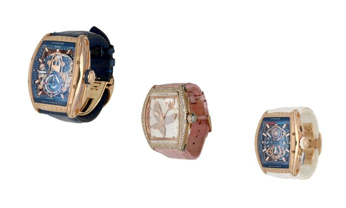De Cvstos horloges: Challenge GT Sealiner GMT 18kt goud, Re-Belle Butterfly Magic Garden 18kt goud en de Chronographe Sealiner Regata 18kt rood goud