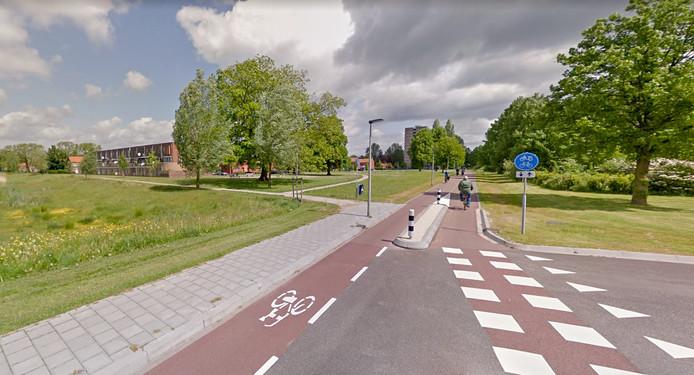 De groenstrook langs de Nijmeegseweg in Malburgen-West die vrij kwam na de sloop van een aantal naoorlogse portiekflats. Er moeten nu alsnog woningen komen.