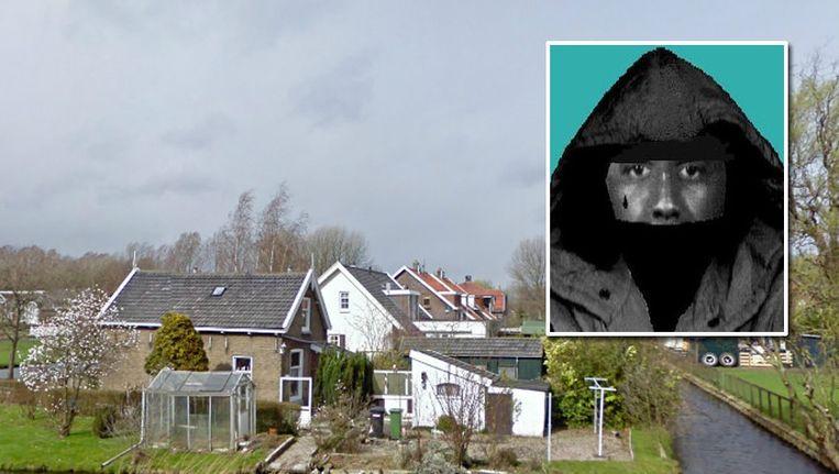 De woning van het 81-jarige slachtoffer en de compositietekening van de dader. Beeld