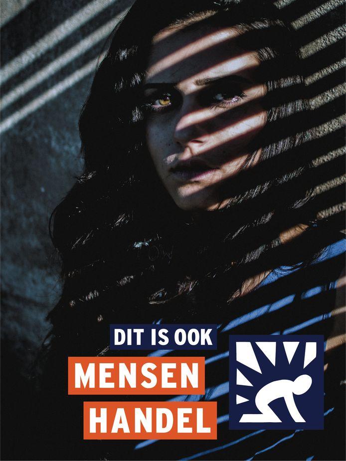 Het logo van de website als onderdeel van de Week tegen Mensenhandel.