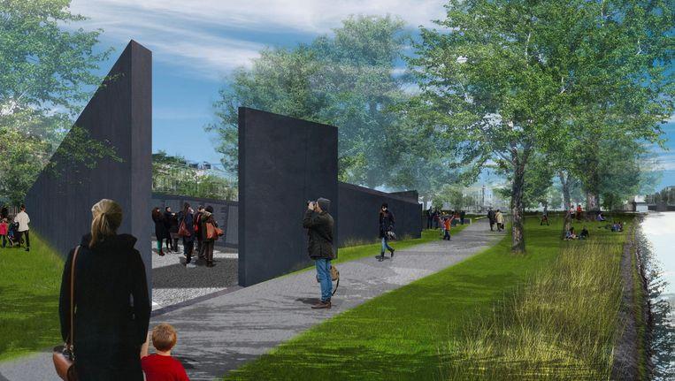 Artist's impression van het Holocaustmonument van Libeskind. Beeld Studio Libeskind