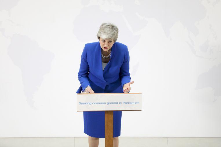 Theresa May wil in juni nog een laatste keer over haar brexitdeal stemmen. foto EPA Beeld EPA