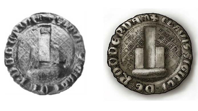 De gevonden munt en een reconstructietekening