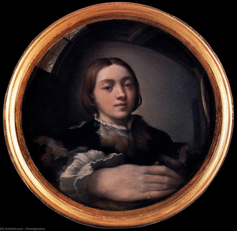 Parmigianino, Zelfportret in convexe spiegel, 1524 Beeld