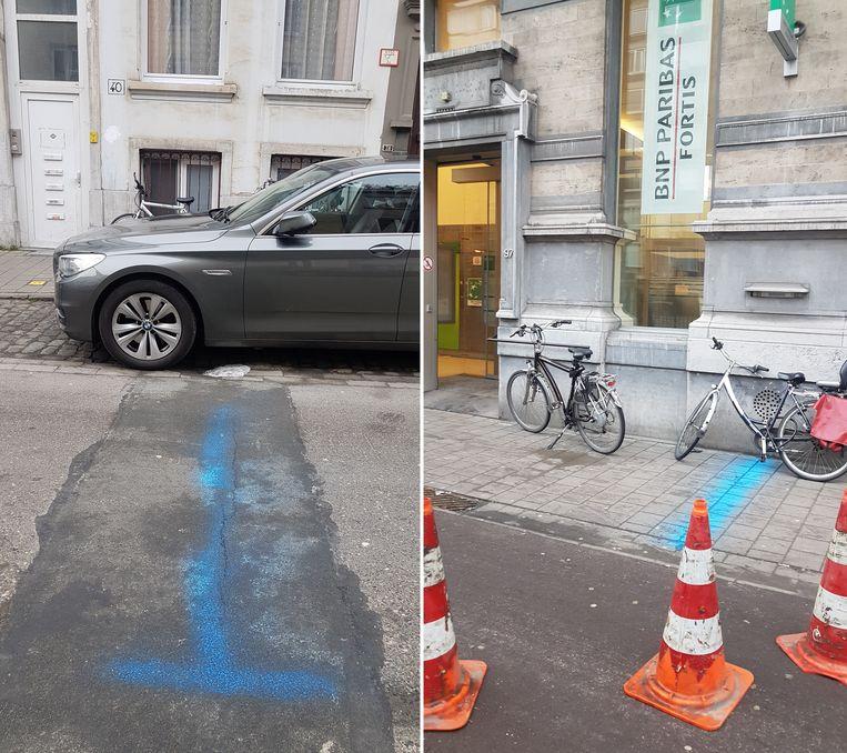 De trajecten van beide gegraven tunnels: de eerste vanuit een huis in de Nerviërsstraat, de tweede vanaf de rioolbuis richting de bank in de Belgiëlei.