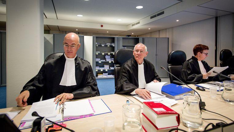 Rechters in de beveiligde rechtbank in Amsterdam-Osdorp waar het jihadproces wordt gehouden. Beeld anp