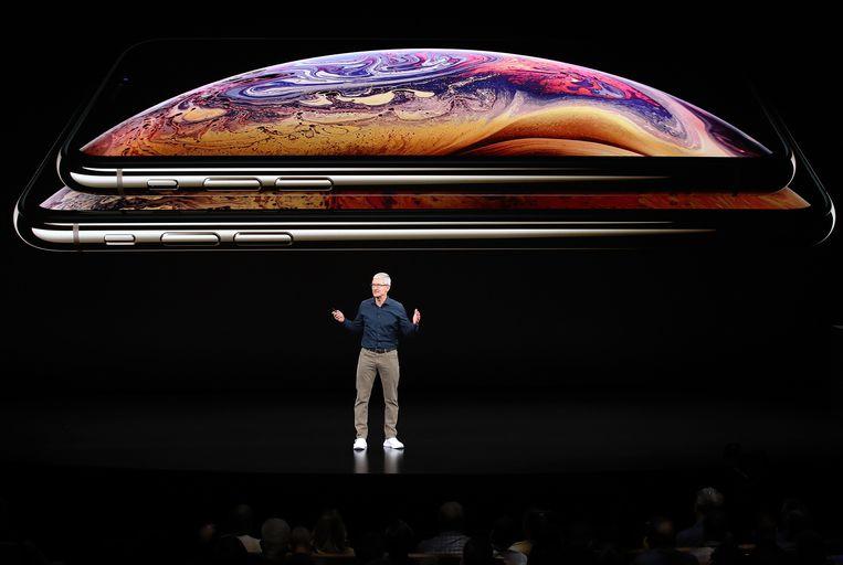 CEO Tim Cook tijdens de voorstelling van de nieuwe generatie iPhones.