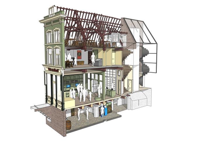 Nieuwe invulling van het pand De Kleine Winst. Aan de achterzijde wordt een glazen lift gebouwd met extra trap.