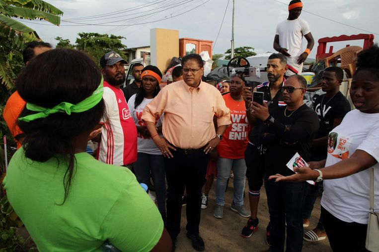 Chan Santokhi tijdens de campagne.  Beeld ANP